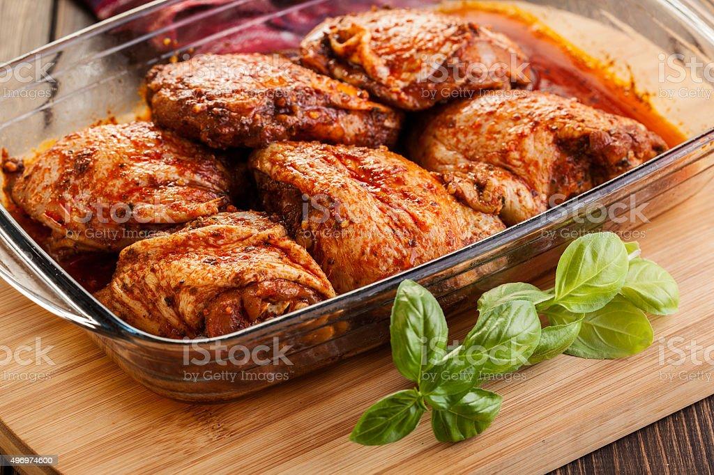 Marinated chicken drumsticks stock photo