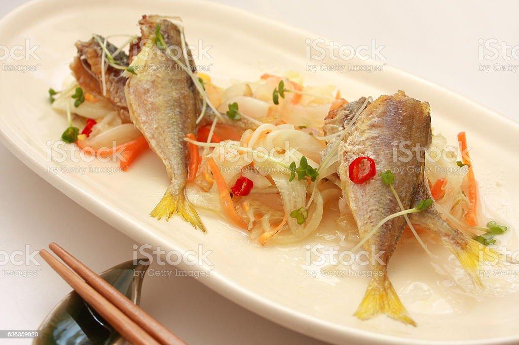 Marinated Deep-fried Horse Mackerel, Japanese food stock photo