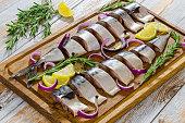 marinated Fillets of Fresh atlantic mackerel fish cut in slices
