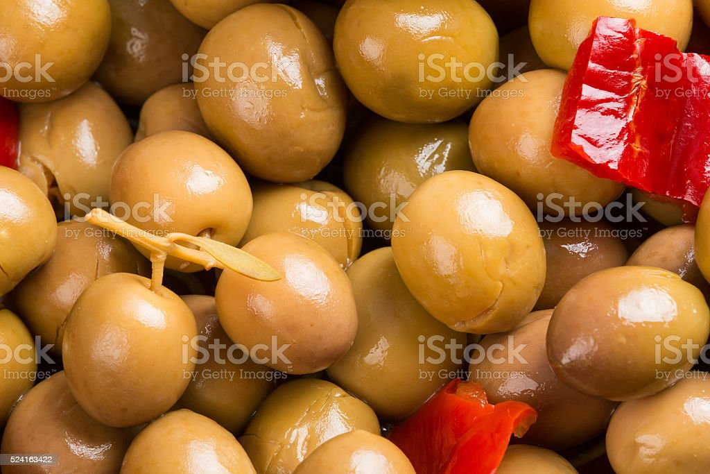 Marinated green olives stock photo