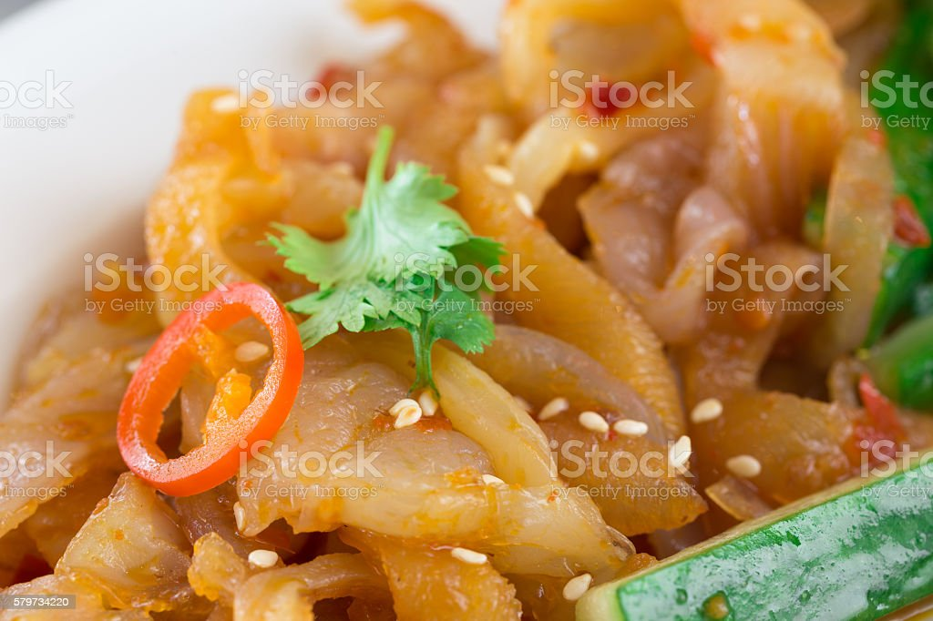 Marinated jelly fish with cucumber. stock photo