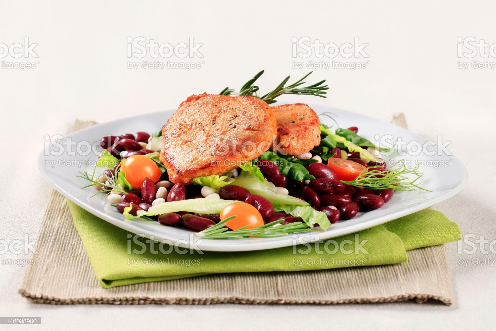 Marinated pork and red bean salad royalty-free stock photo