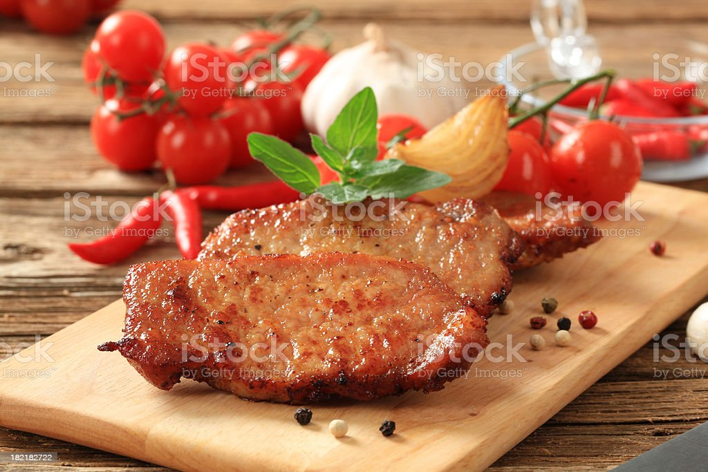 Marinated pork chops royalty-free stock photo