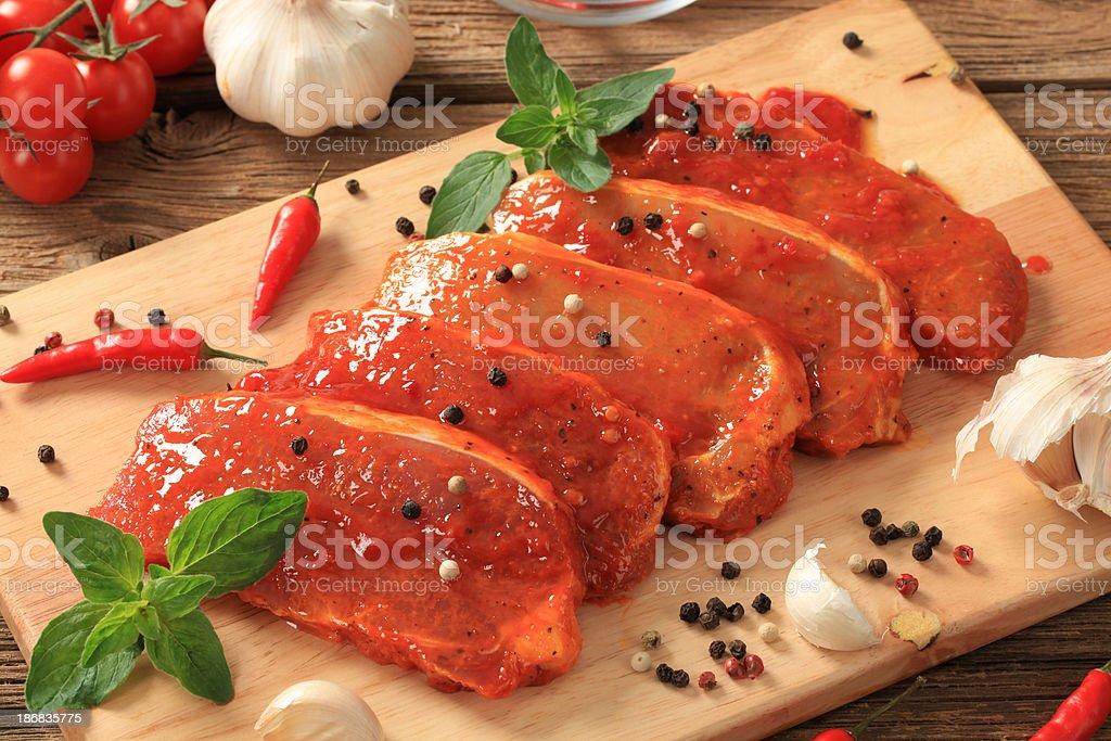 Marinated pork stock photo