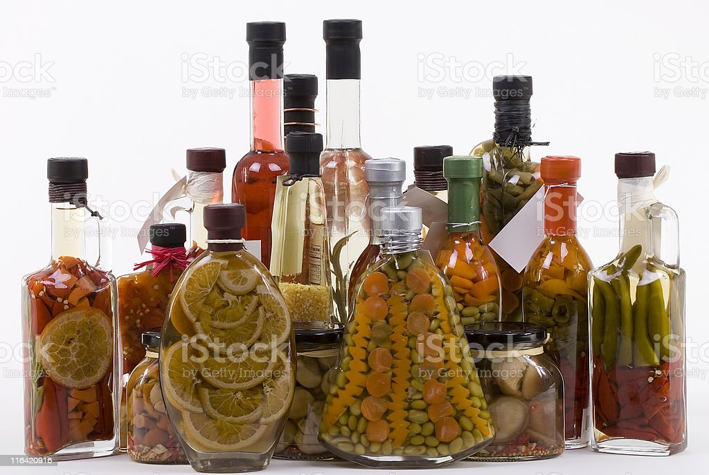 Marinated Products: Fruits, Vegetables, Mushrooms royalty-free stock photo