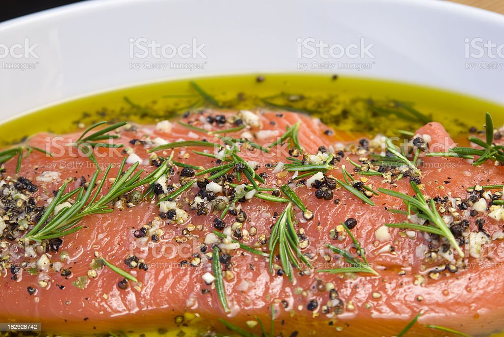 Marinated Salmon Fish Seafood, Healthy Cooking, Rosemary & Olive Oil Marinade stock photo