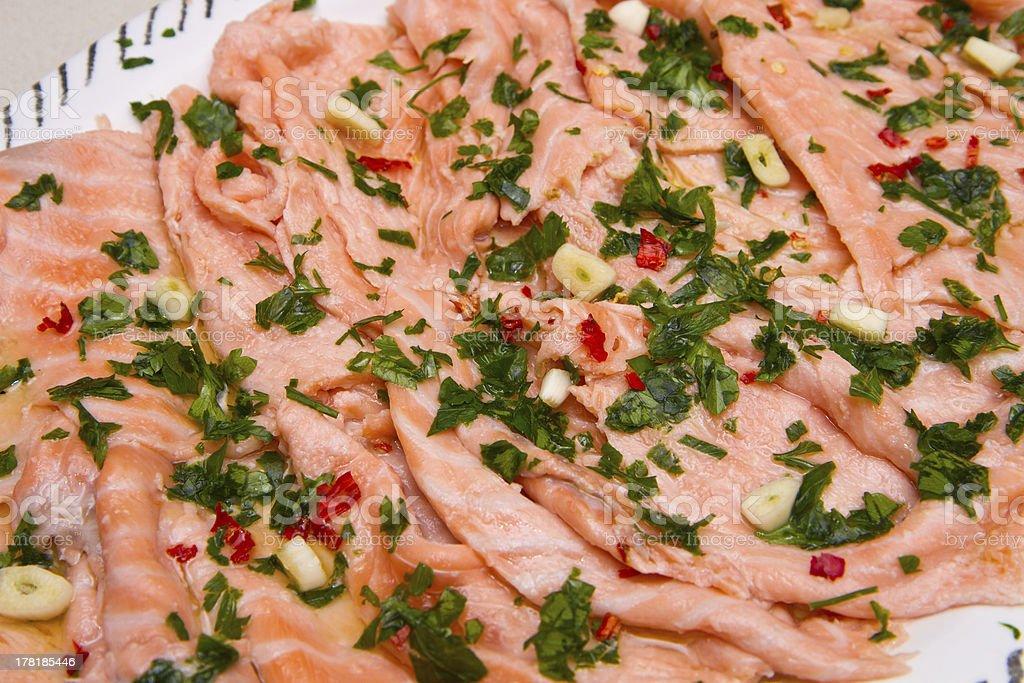 marinated salmon royalty-free stock photo