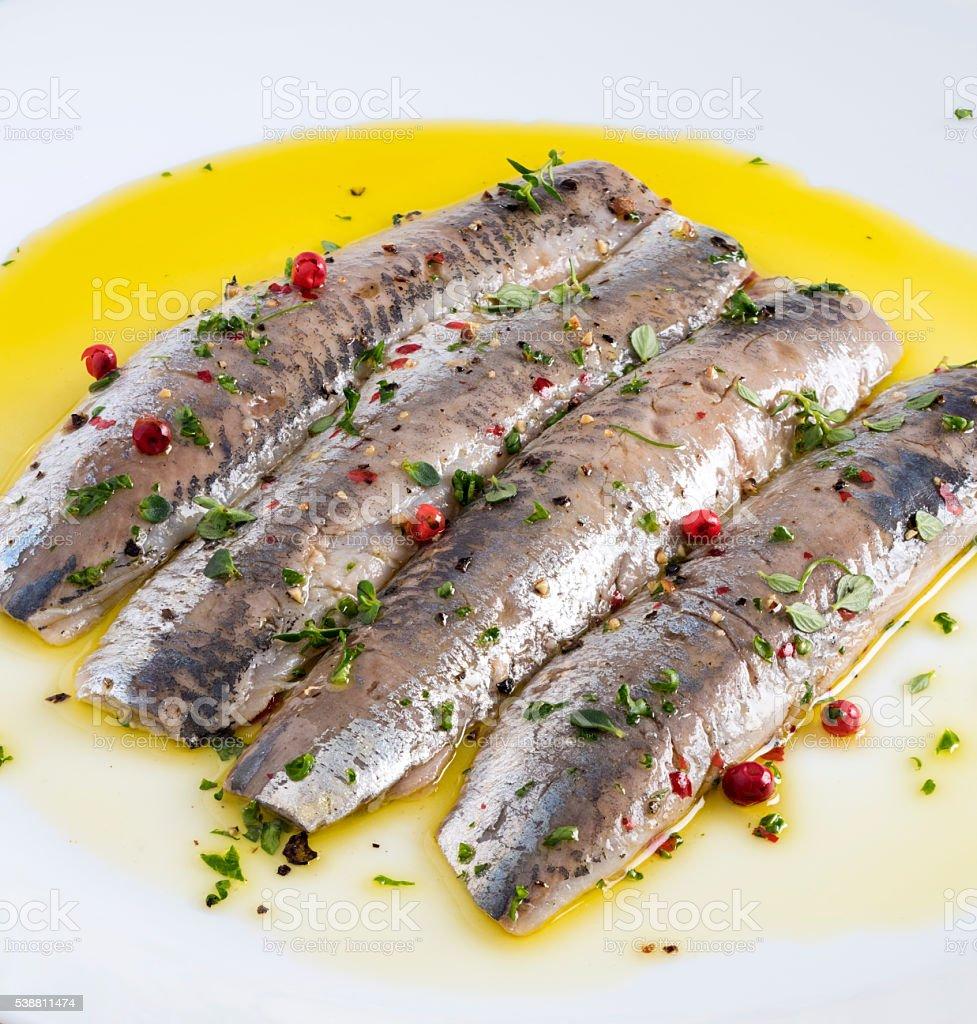 Marinated Sardines stock photo
