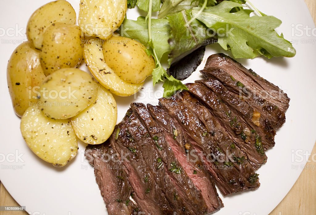 Marinated skirt steak stock photo