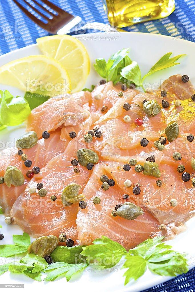 Marinated smoked salmon royalty-free stock photo