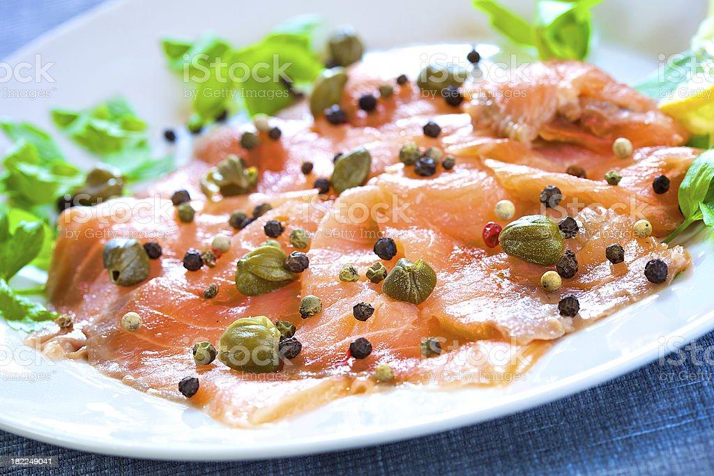 Marinated smoked salmon stock photo