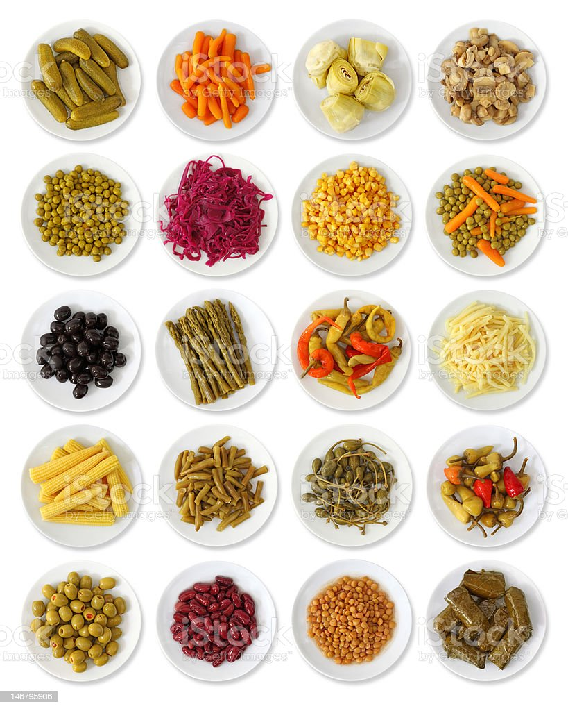 Marinated vegetables collection stock photo