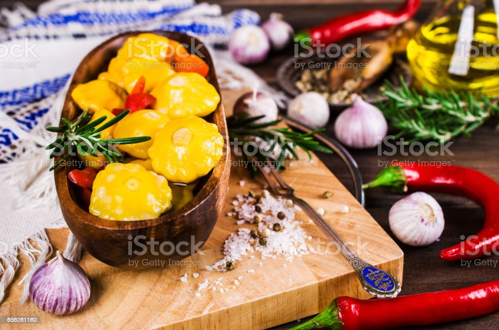 Marinated yellow pattypan stock photo