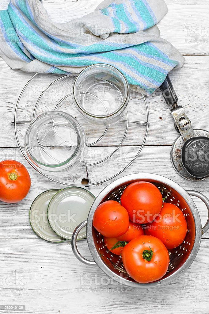 Marinating harvest tomatoes stock photo
