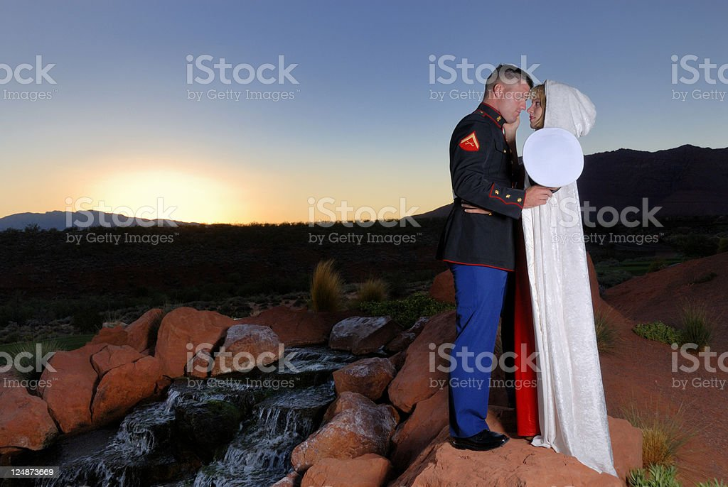 Marine and His Girl Sharing A Tender Moment royalty-free stock photo