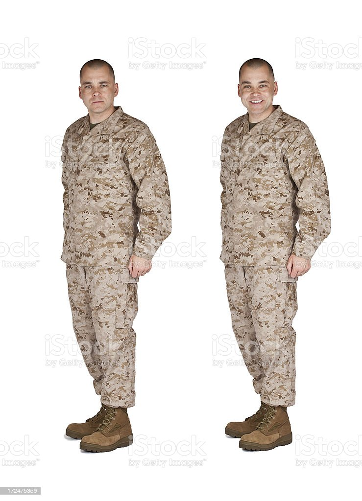 Marine At Attention Smiling and Serious royalty-free stock photo