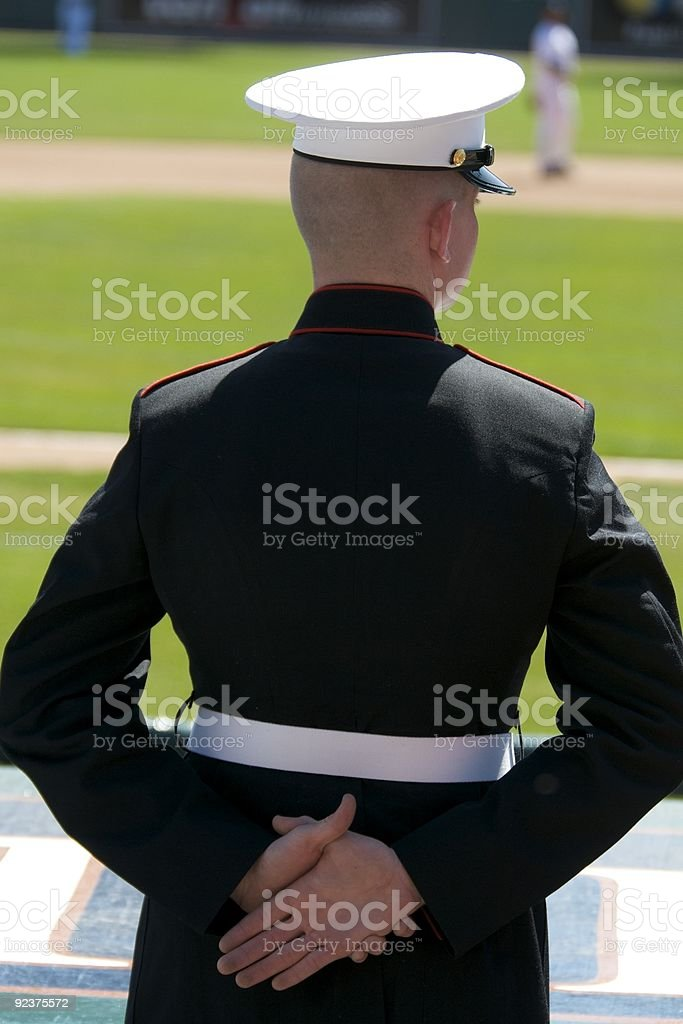 Marine at Baseball game stock photo