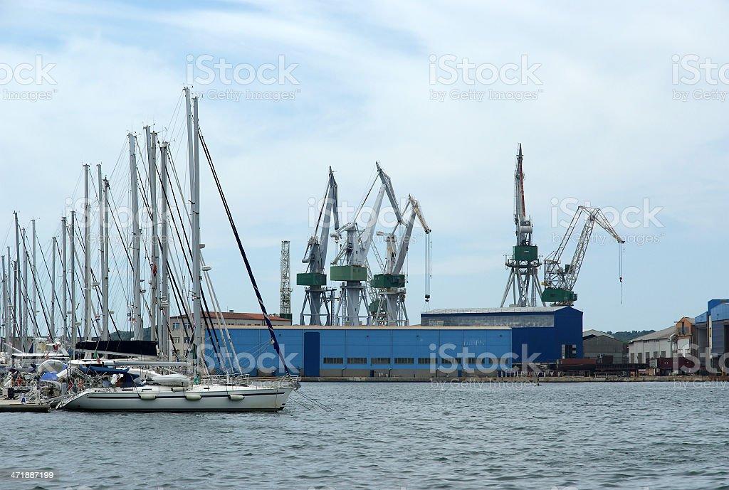 Marine cargo port. Cranes. Pula, Croatia stock photo