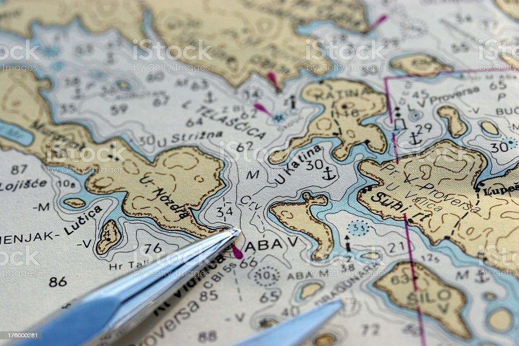 marine chart stock photo