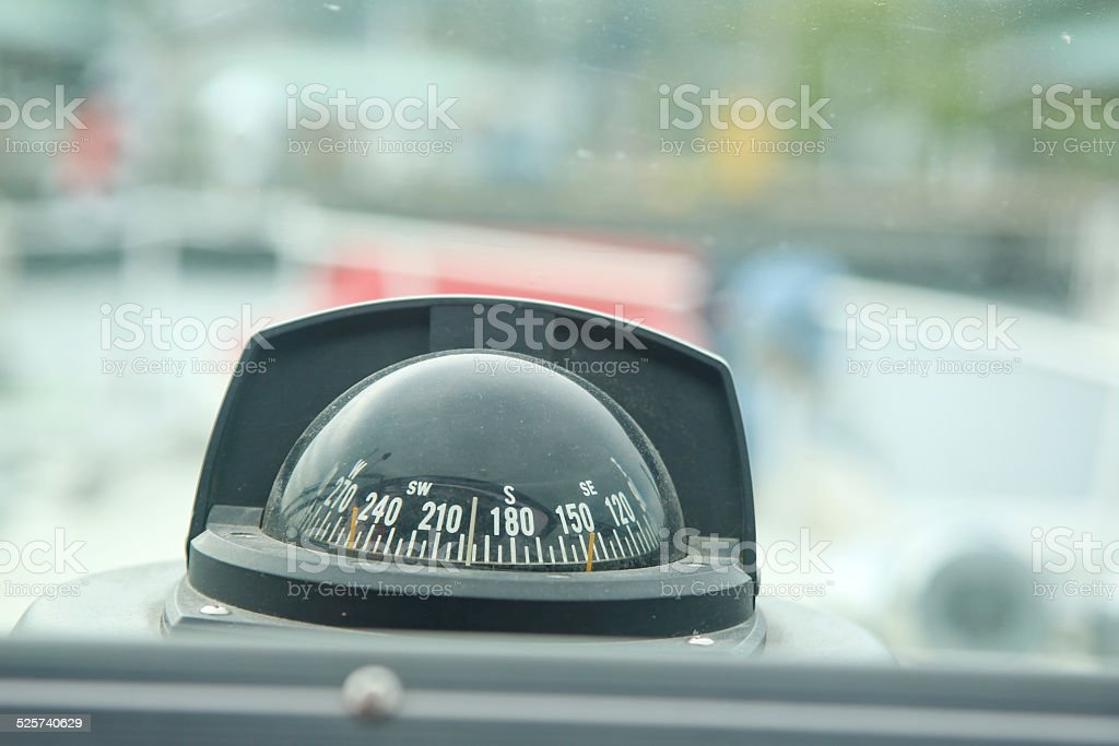 Marine Compass on a Yacht stock photo