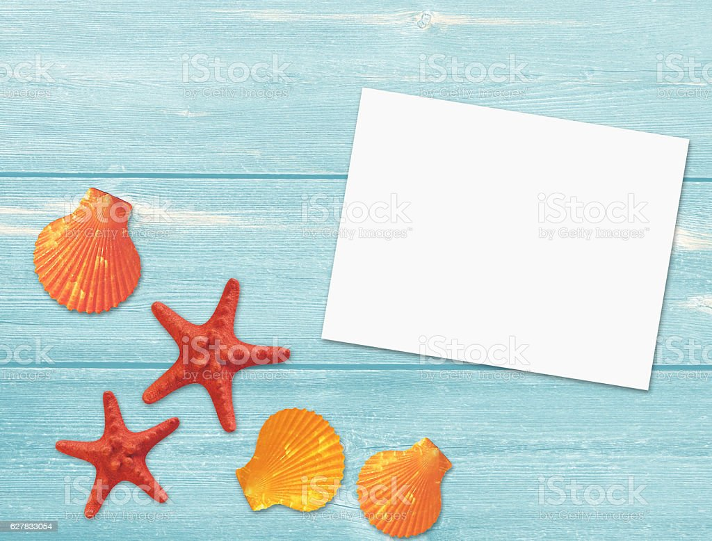 Marine composition on a blue wooden background. stock photo