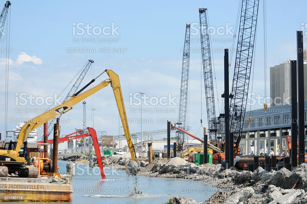 Marine construction at Port Canaveral stock photo