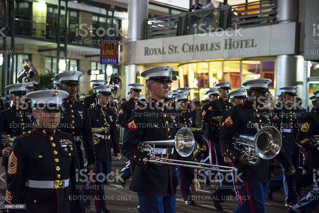 U.S. Marine Corps band marching at Mardi Gras royalty-free stock photo
