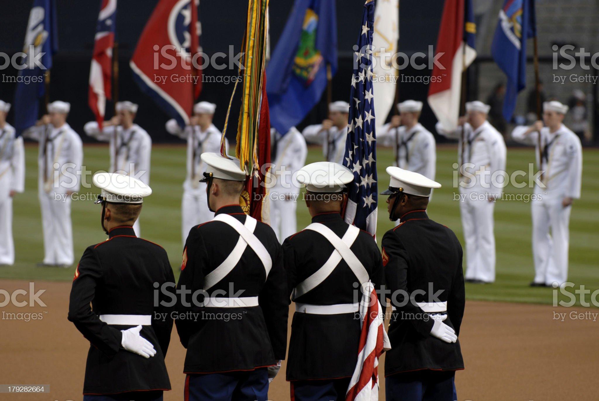 U.S. Marine Corps Color guard royalty-free stock photo