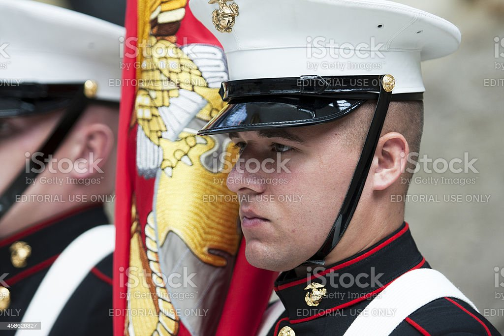 Marine Corps Color Guard stock photo