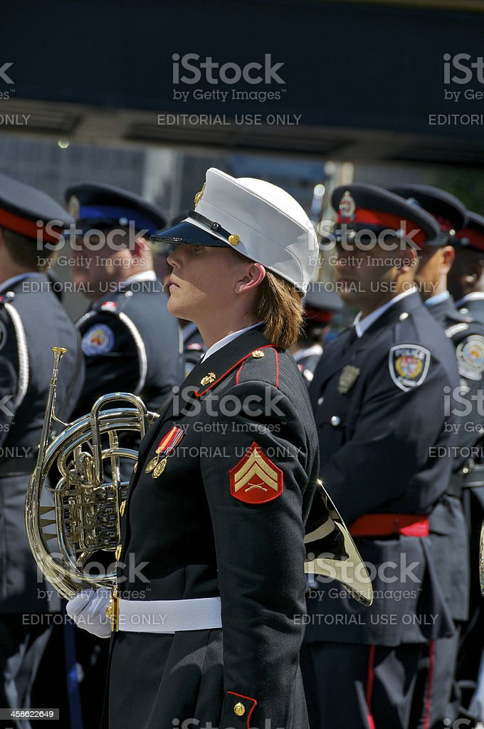 U.S. Marine Corps Marching Band member, NYPD Memorial Service, NYC royalty-free stock photo