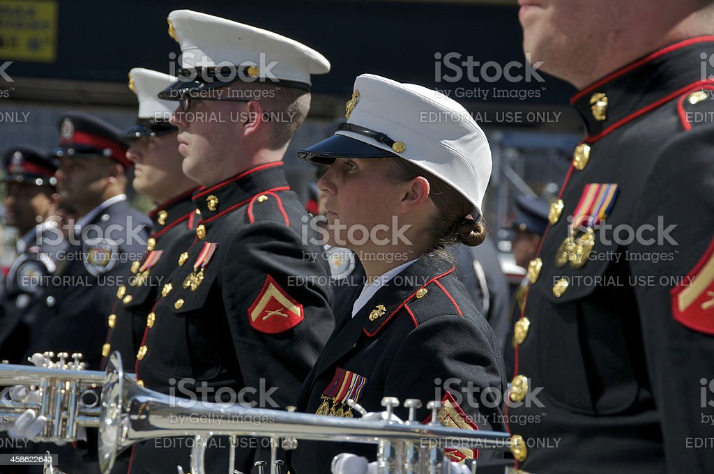 U.S. Marine Corps Marching Band members, NYPD Memorial Service, NYC stock photo