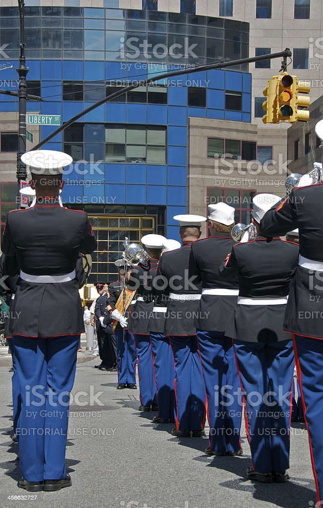 U.S. Marine Corps Marching Band members, NYPD Memorial Service, NYC royalty-free stock photo