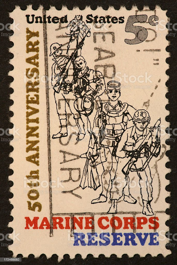 Marine Corps Reserves stamp royalty-free stock photo