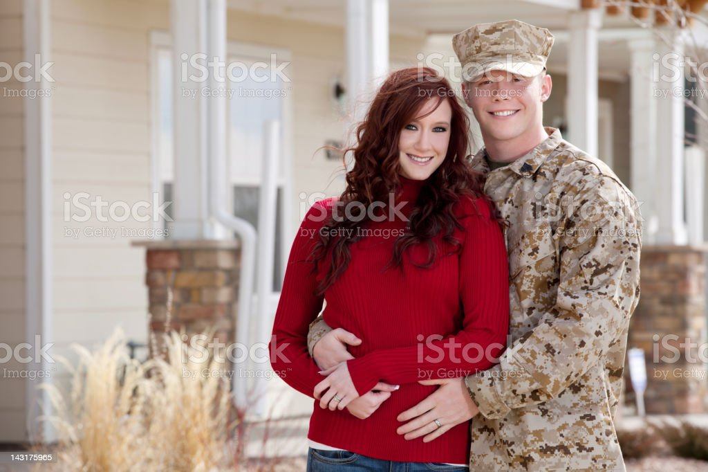 U S Marine Corps Soldier with Wife Outdoor royalty-free stock photo
