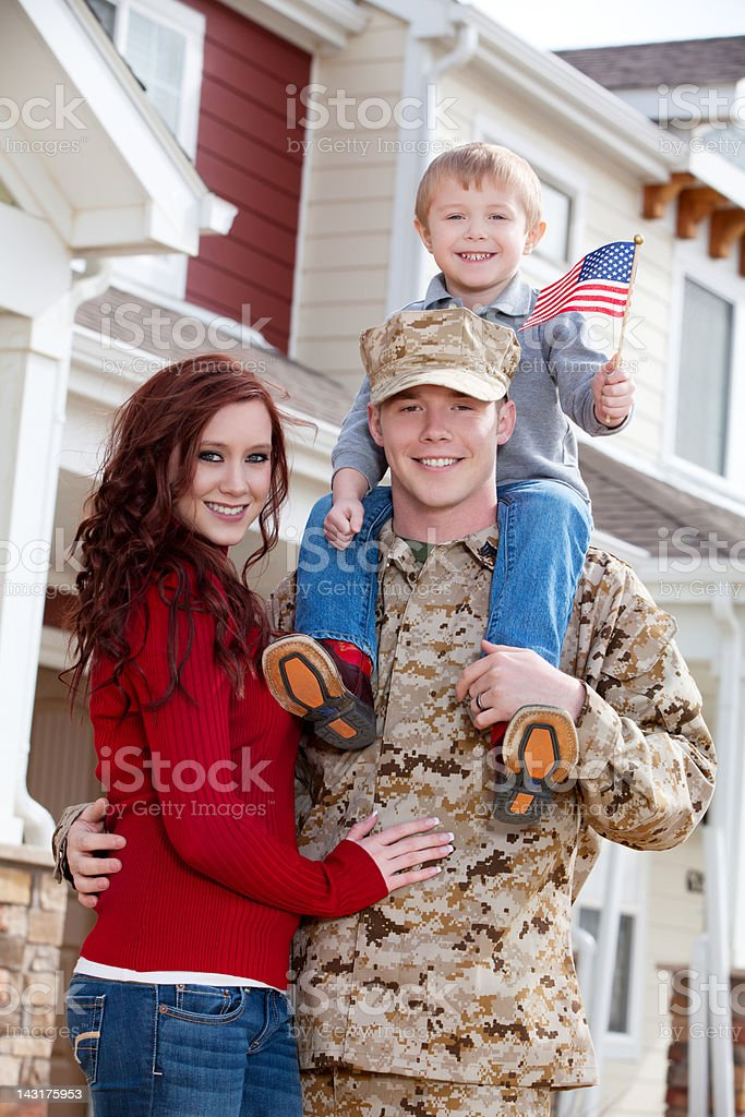 U S Marine Corps Soldier with Wife & Son Outdoor stock photo