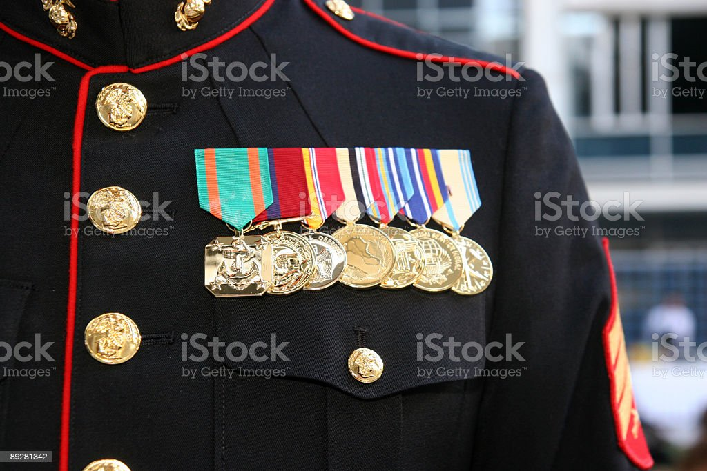 US Marine displaying his medals stock photo