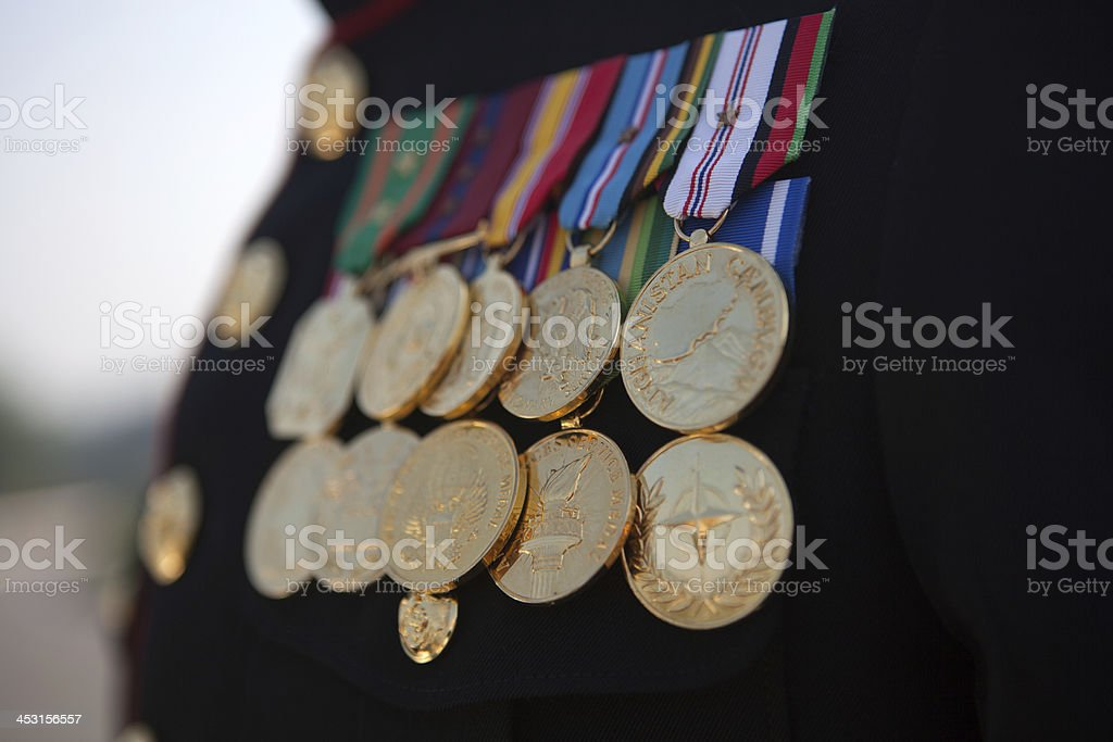 U.S. Marine displaying his service medals stock photo