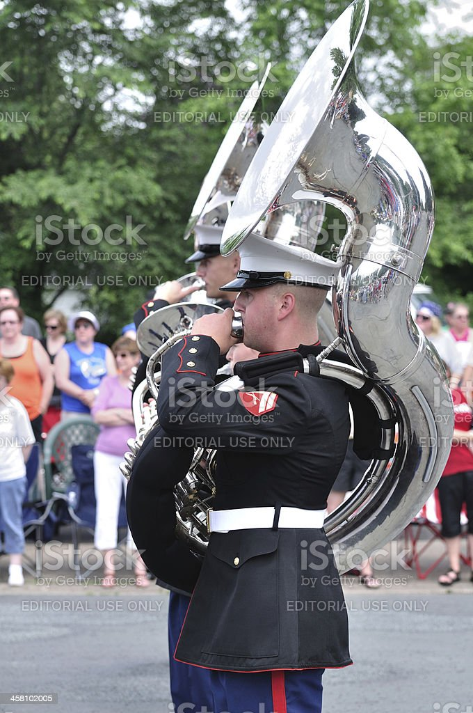 USMC Marine Forces Reserve Band Performers Playing Tubas in Parade stock photo