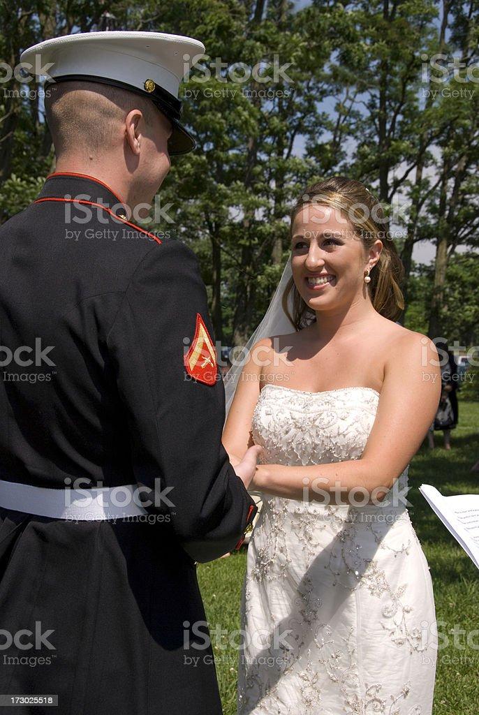 Marine Groom & Bride royalty-free stock photo