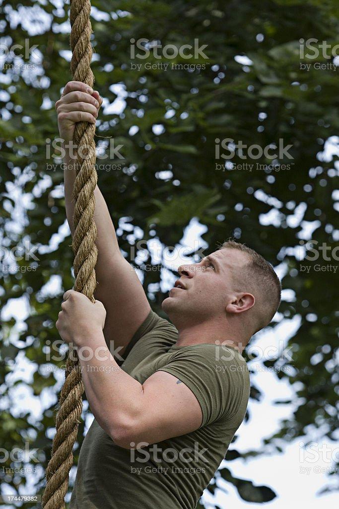 Marine in Training Climbing Rope royalty-free stock photo