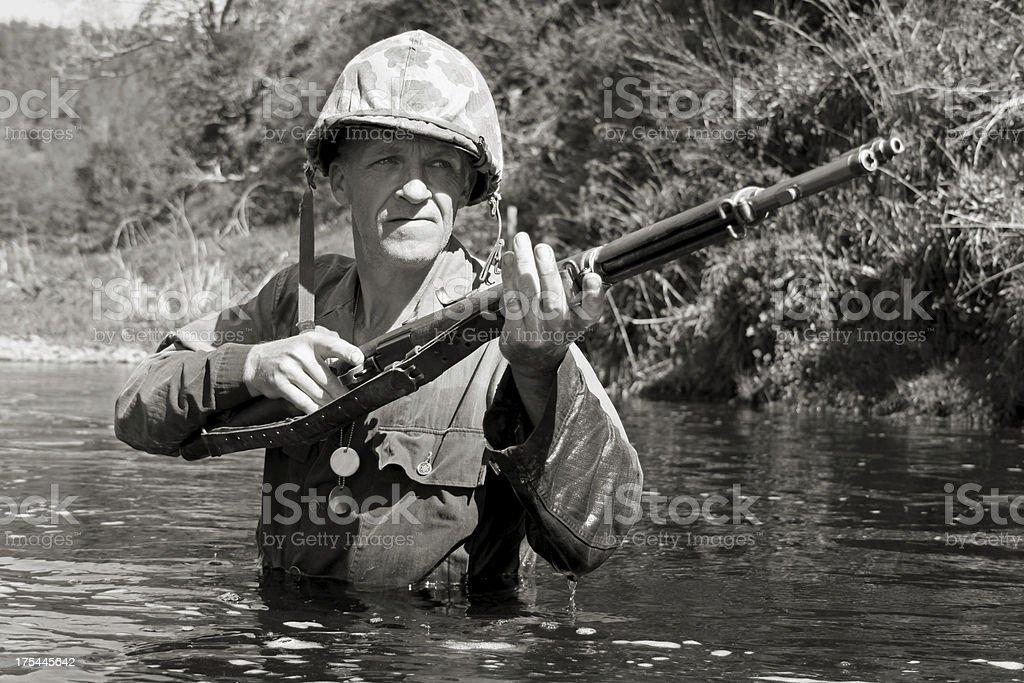 Marine in water. stock photo