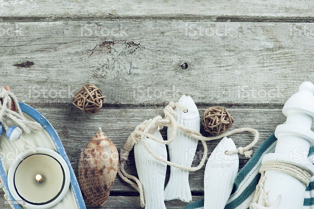 Marine items on old wooden background stock photo