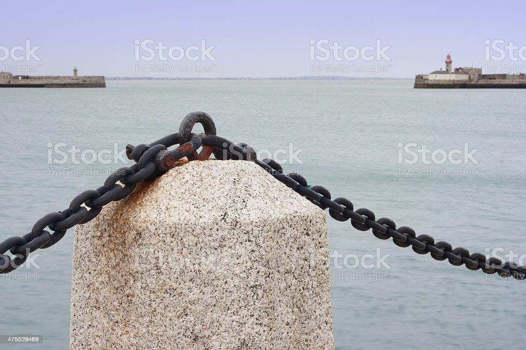 Marine landscape at promenade of port royalty-free stock photo