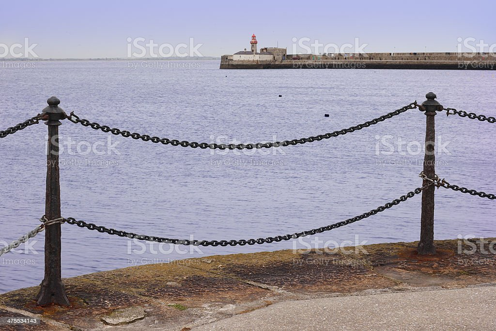 Marine landscape at promenade of port royalty-free stock photo