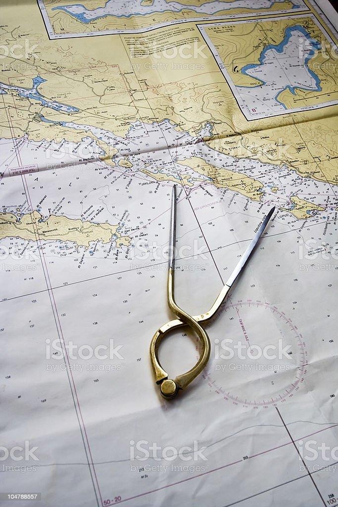 Marine map with caliper stock photo