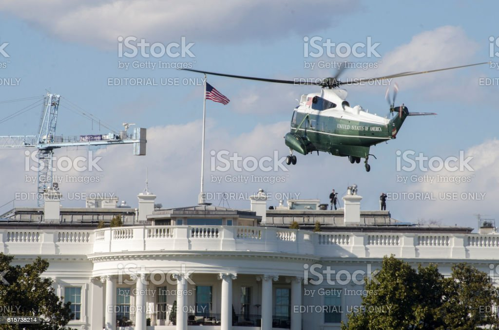 Marine One about to land on the south lawn of the White House. stock photo