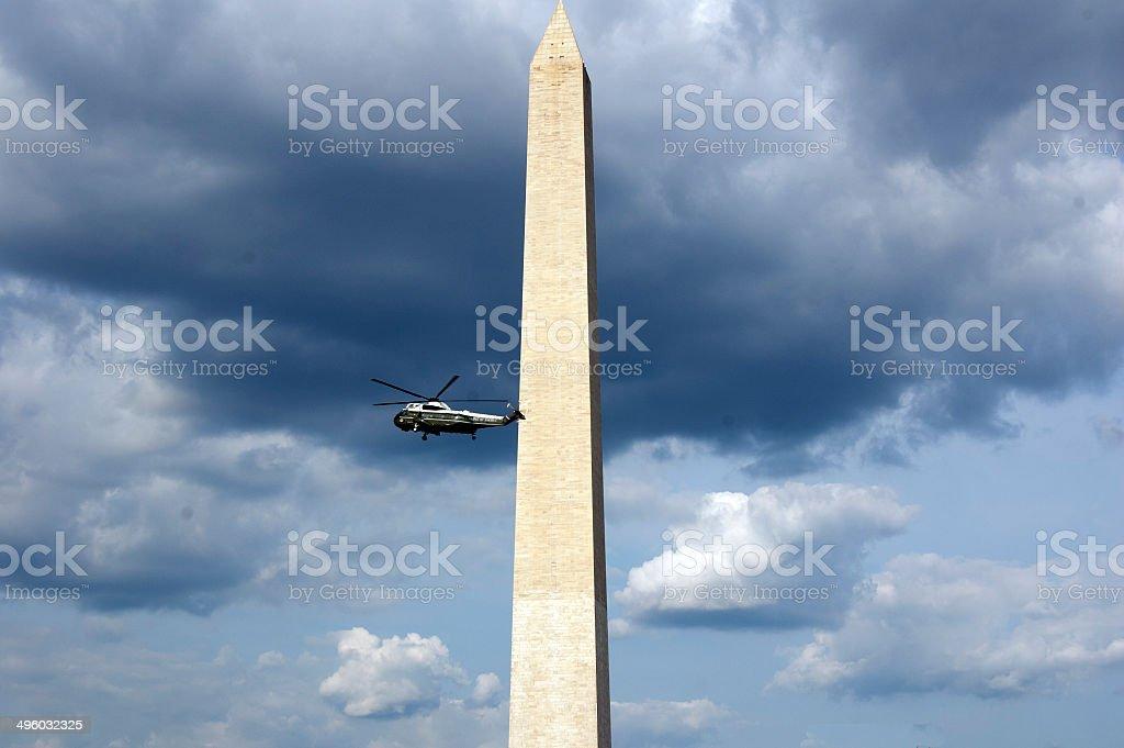 Marine One At The Washington Monument stock photo
