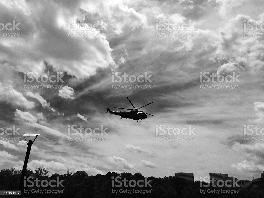 Marine one black and white stock photo