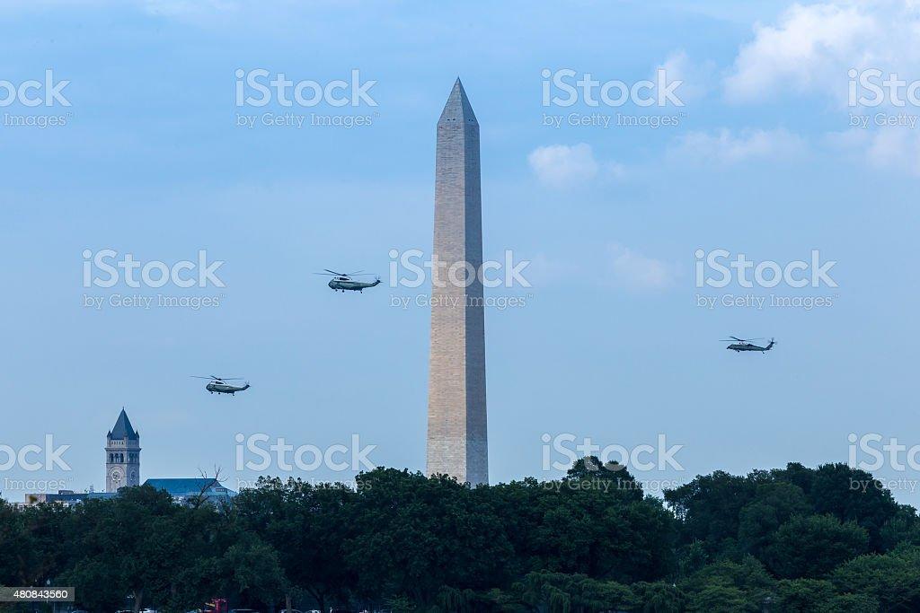 Marine One Escorted Back to the White House stock photo