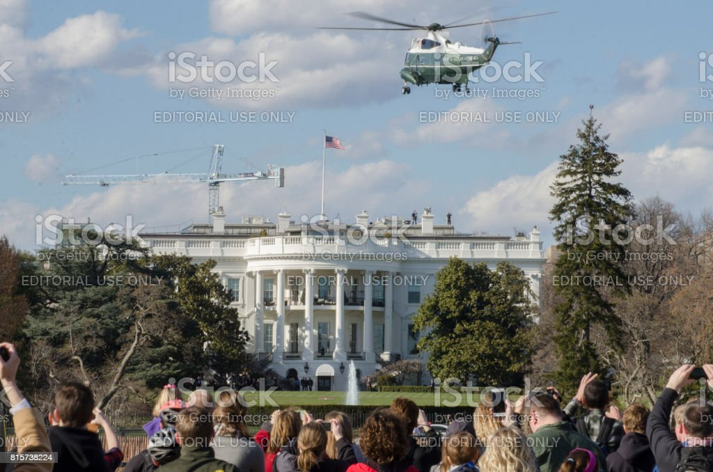 Marine One final approach stock photo